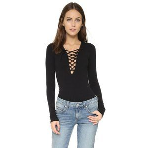 Free People Intimately Black Ribbed Lace Up Top
